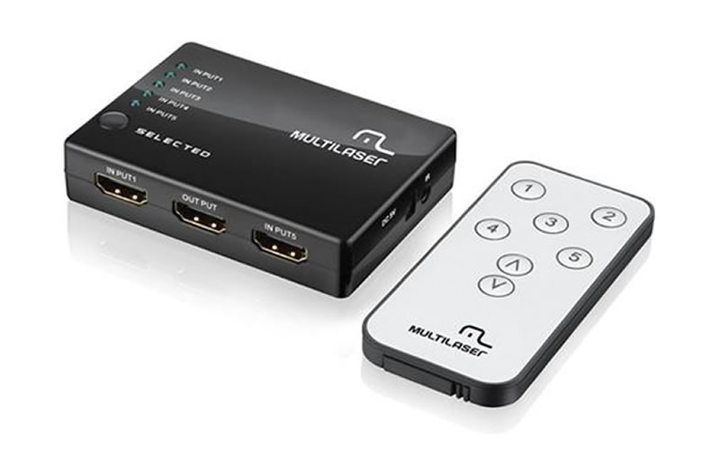 Switch HDMI 5 Portas Multilaser - RE048